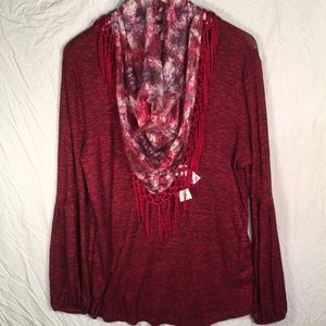 Style &Co Long Sleeve V-Neck Top With Scarf Large